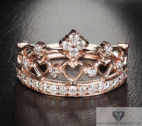 玫瑰金皇冠戒指钻石铺路独家