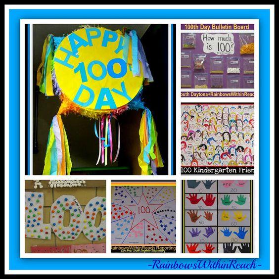 100天派对庆祝理念:100个系列,第100天公告板,100天工艺项目:第100天RoundUP在RainbowsWithinReach