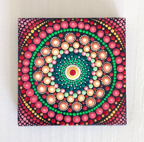 Original Red Mandala Painting on Canvas, Painting, Office and home ornament Henna art Gift Dotilism Dotart, Blue mandala