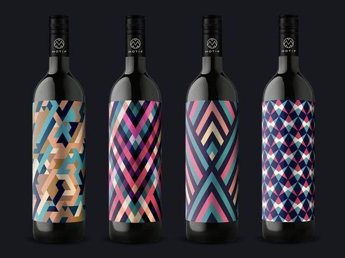 #bottle #pattern #packaging #wine #colorful –– Motif Wine