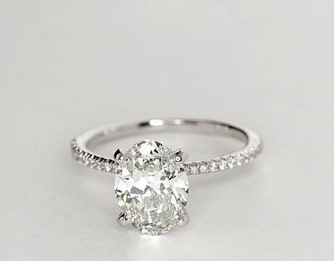 1.24ct I-SI1椭圆形钻石订婚戒指高级珠宝900,000 GIA认证钻石JEWELFORME BLUE