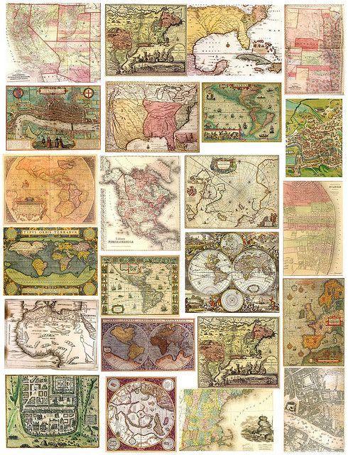 免费,可打印的复古地图,情人节贺卡,鲜花等。