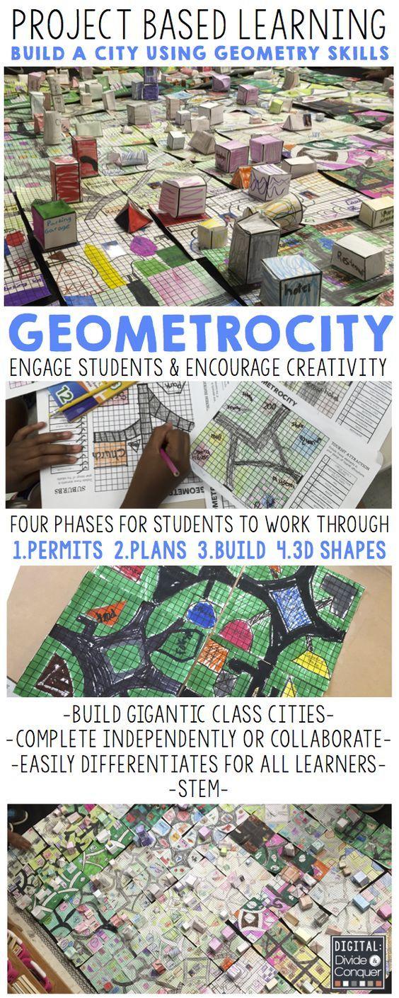 基于项目的学习:GEOMETROCITY!利用几何建造数学城市。想象,设计,并用这个2D和3D冒险建造一座城市! - 基于项目的学习 - 实际世界应用程序 - 几何,地图和更多 - 扩展活动 - 差异化的级别