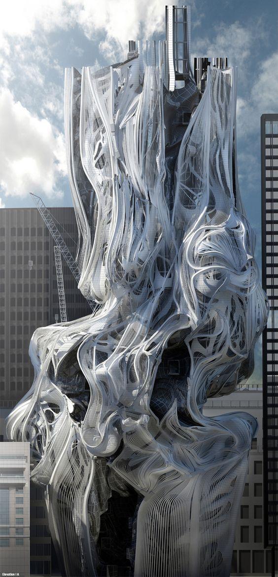 Tower, skyscraper, Los Angeles, LA, Sci-Arc, Southern California Institute of Architecture, Danny Karas, thesis project, US Complexité, chaos, semblable toile d'araignée, amas, dynamisme fluide.