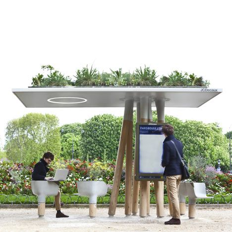 French designer Mathieu Lehanneur has created a series of Wi-Fi stations in Paris where people can sit down to use their laptops or access local information via a large screen.