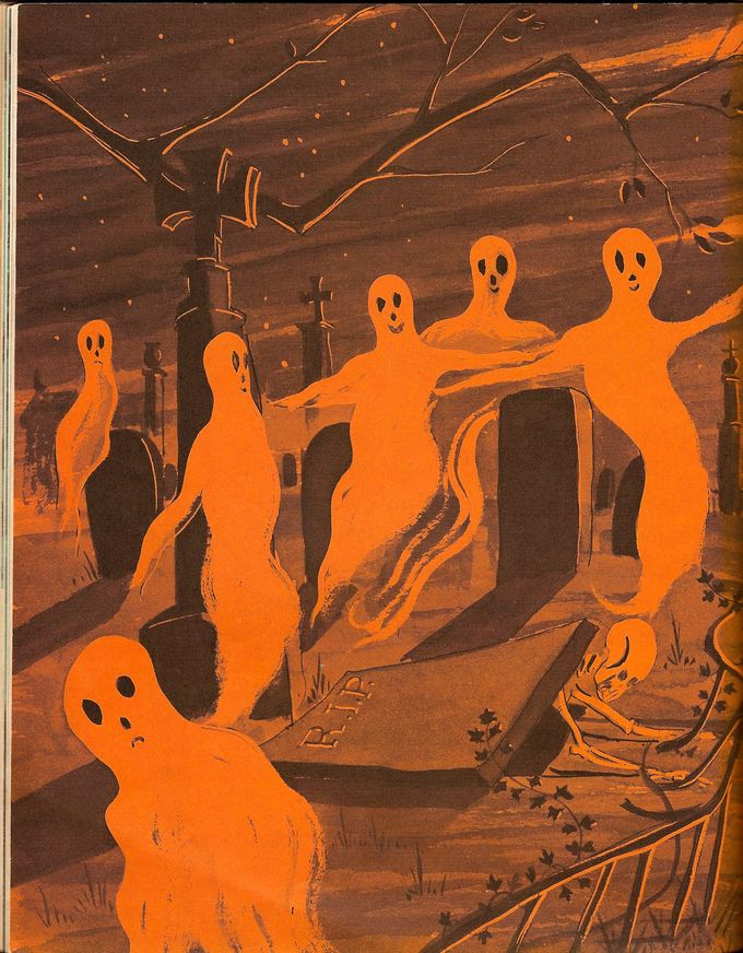 Ghosts on parade. Illustration from vintage Halloween book.