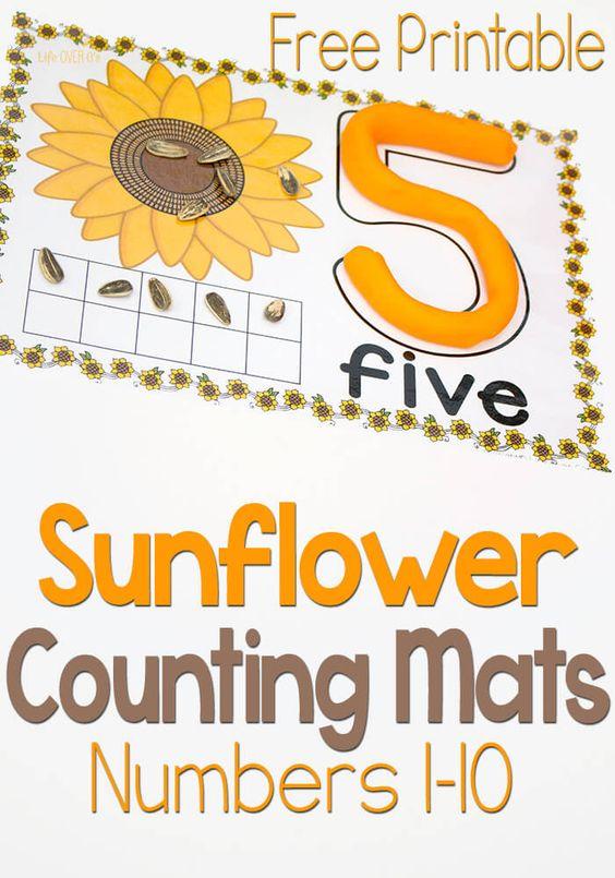 数字1-10的这些免费向日葵玩面团计数垫包括数字,数字,十帧和一对一的对应,