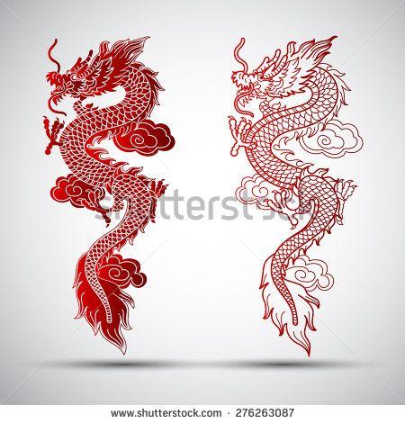 传统中国龙,矢量图 - 正版矢量插图