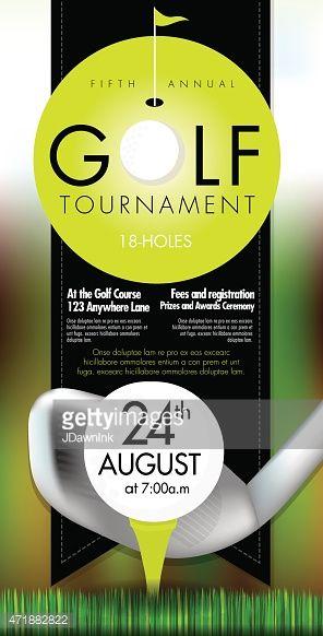 矢量图的高尔夫邀请赛布局或海报广告设计模板。绿色,暗灰色的配色方案。包括样本文字设计元素和高尔夫球场,高尔夫球场和......