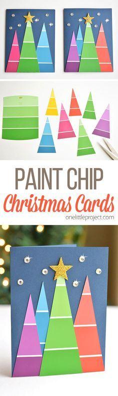 这些漆芯片圣诞卡非常漂亮,而且它们非常容易制作!它们很简单,但最终看起来很神奇!多么棒的工艺理念!