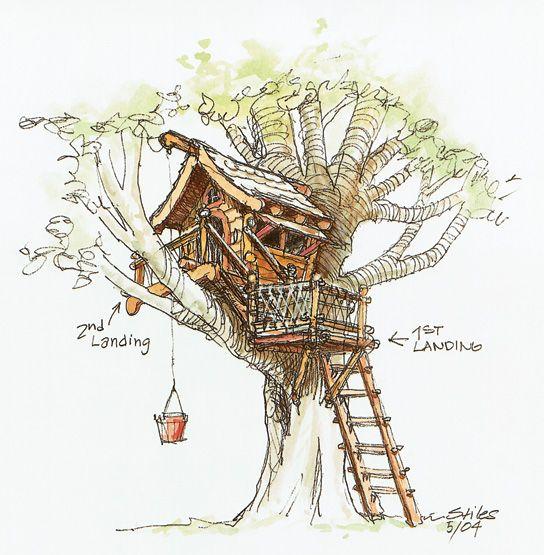 """""""树屋永远不会压倒它所在的树。它应该轻轻地坐在树枝上。""""-Jeanie Stiles你有没有想过在你家后院有一个树屋?珍妮斯蒂尔斯和她的丈夫大卫都这么做,所以他们为他们的孩子设计了一个,从你上面看到的草图开始。他们说..."""