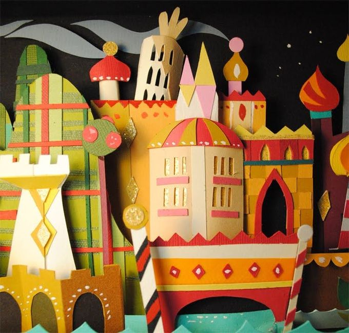 It's a Small World detail, paper art by Brittney Lee