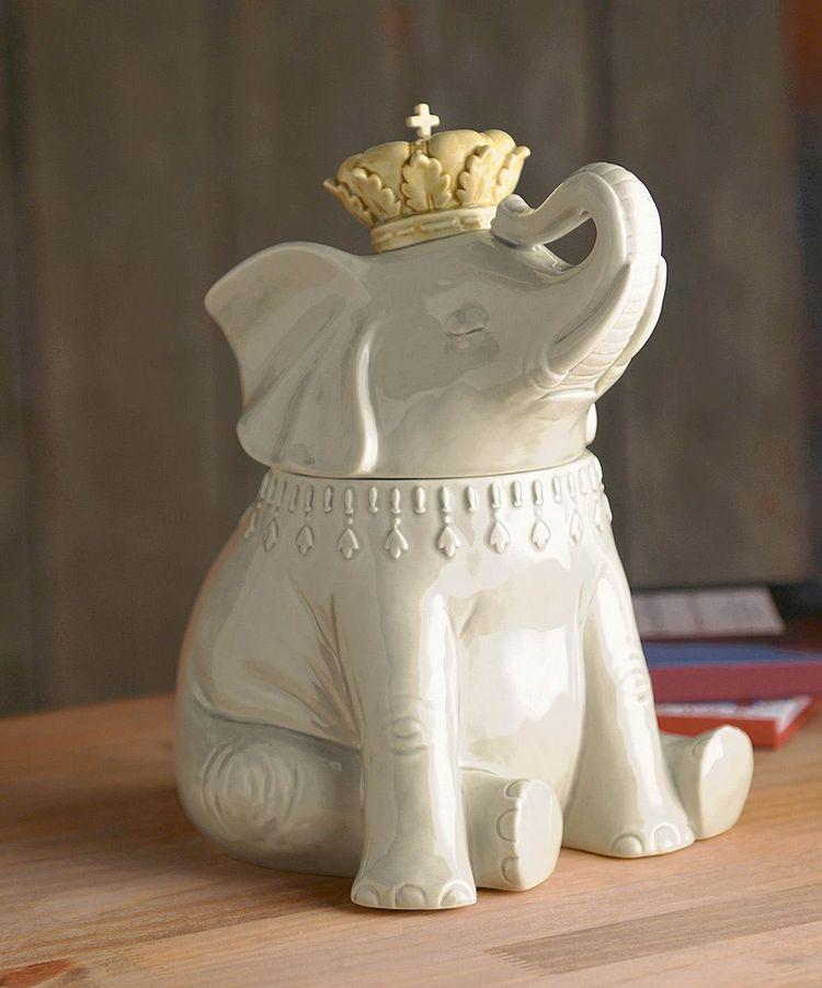 陶瓷大象饼干罐