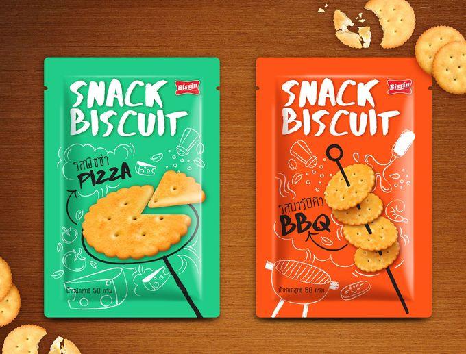 Design options for Bissin Snack Biscuit packaging.