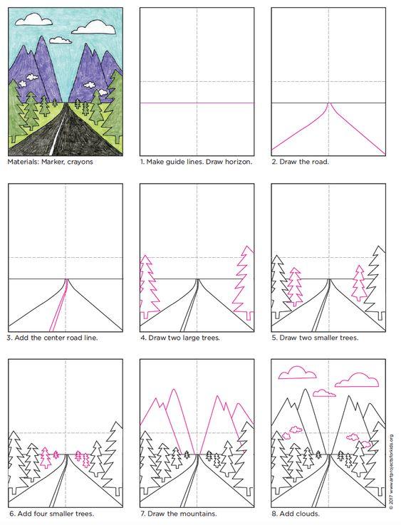 这是一个简单的景观教程,演示了如何用消失点绘制透视图。图纸有助于显示您的艺术中可以隐藏多少空间,只需注意线条和比例。通过保持树木等元素的类型相同,很容易看出它们越来越小,离你越远。 PREP•查看和下载风景PDF教程材料•绘图纸•黑色Sharpie标记,细尖•绘儿乐蜡笔方向1.用铅笔在绘图纸上轻轻绘制中心指南。 2.按照横向教程绘制横向。 3.使用黑色标记跟踪绘图。 4.用蜡笔为景观着色。尝试使用戏剧性的颜色,如黑色的道路和彩色的山脉。注意:此帖子包含会员链接。保存保存保存保存保存保存保存保存保存保存保存