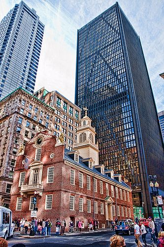 旧州议会大厦,波士顿,马萨诸塞州波士顿大屠杀的遗址就在这里。