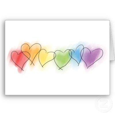 彩虹行上色了在水彩口气的心脏。