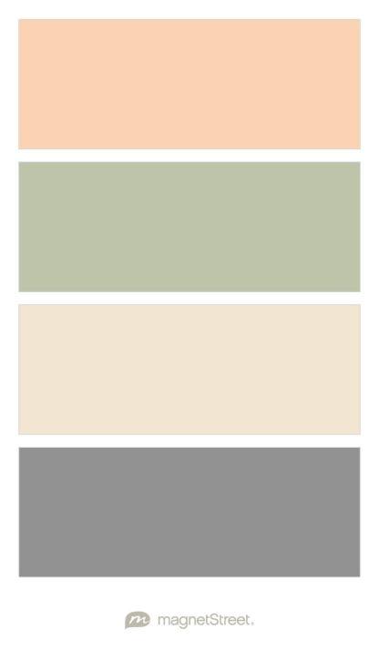 桃子,鼠尾草,香槟和经典灰色婚礼调色板 - 定制颜色......