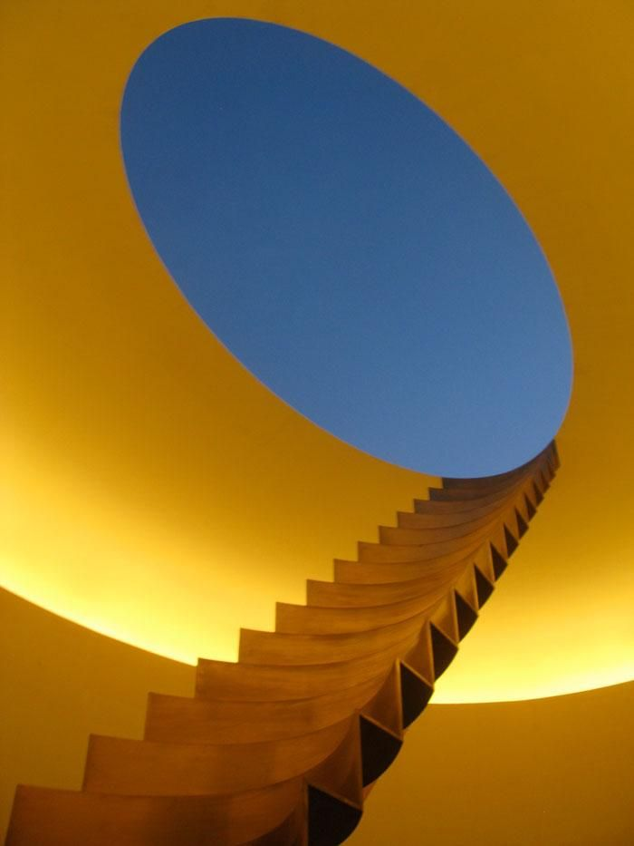 James Turrell, Roden Crater. Bronze stairs leading from inside the crater to the summit. Photo by Ed Krupp.