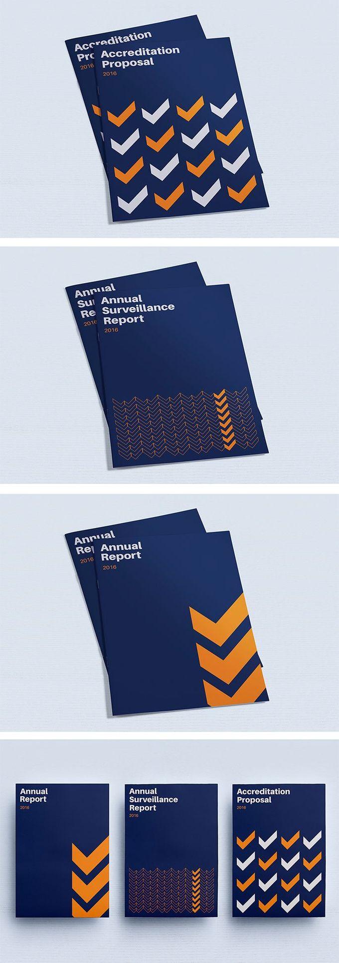 Brochure cover design inspiration, Geometric minimalist layout research, blue and orange   Annual Report, Company Profile, Proposal, Report   Celine Le Duigou, Freelance Graphic & Web Designer