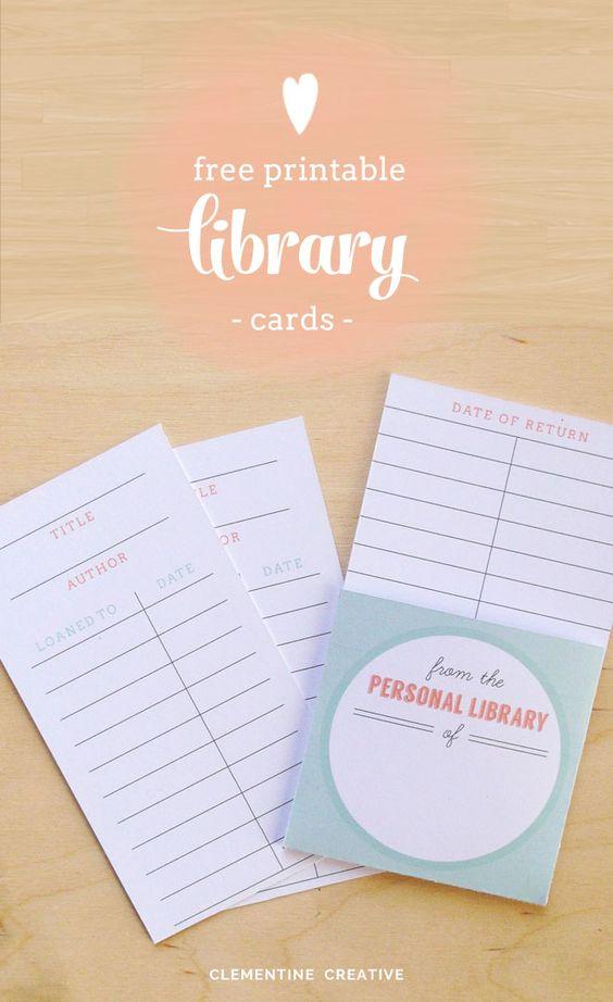 """我很高兴与大家分享我最新免费打印的这些图书卡。在""""个人图书馆""""下面有空间写下你的名字。或者填写PDF本身。"""