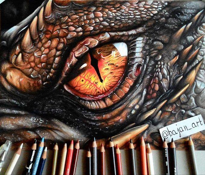The Hobbit - Smaug eye drawing by Bajan Art