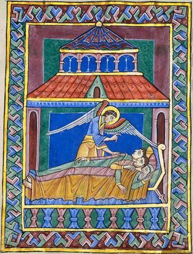 希尔德斯海姆圣奥尔本斯Psalter,圣哥德哈德教堂 - 魔法之梦(1123)