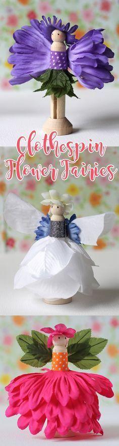 你会喜欢用丝绸花和木衣夹创造这些可爱的小仙女娃娃。我的一位甜蜜的读者Twila W.向我发出了这种工艺的想法。谢谢,Twila!他们是如此,如此有趣!这些由木制衣夹制成的微型花仙子是我最有趣的工艺之一...