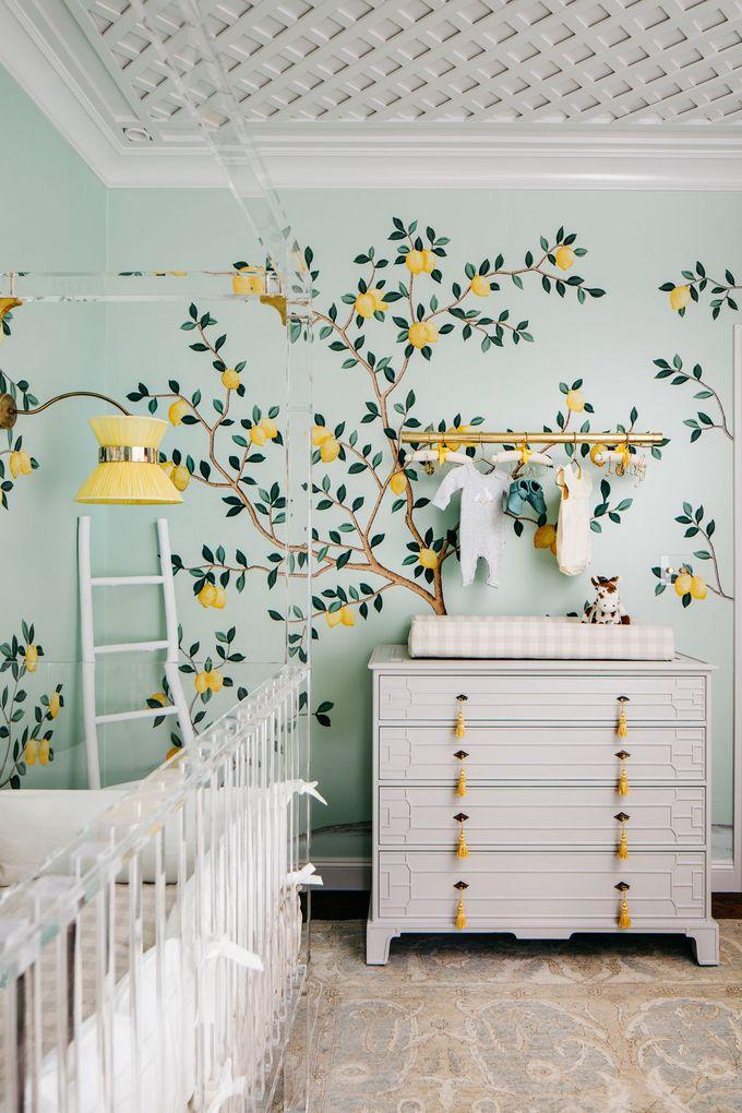 有柠檬墙纸的柠檬下落托儿所