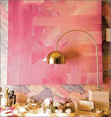 Kelly Wearstler的灵感来自粉红色和金色。