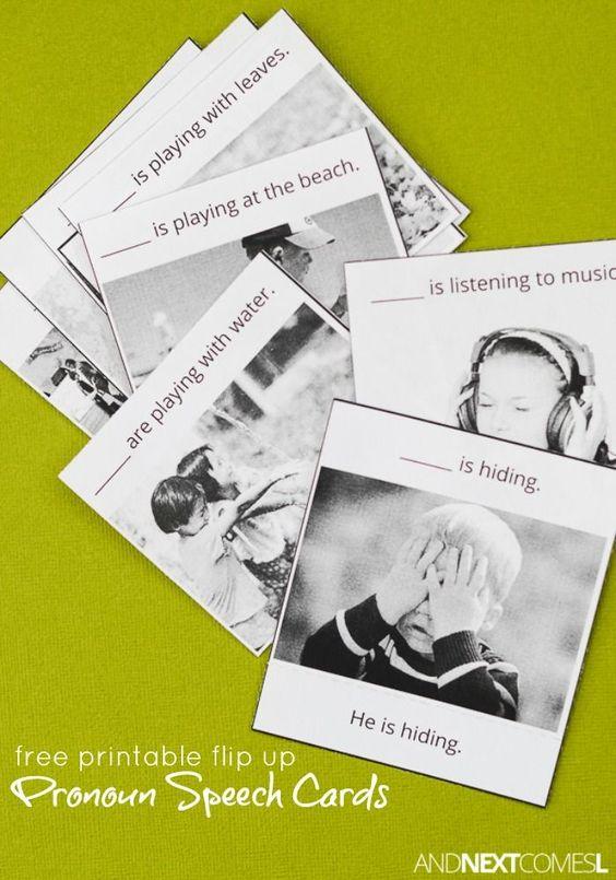 免费打印翻转代词儿童言语治疗卡 - 适用于患有自闭症和特殊困难的孩子,他们喜欢与他,她和他们的代名词斗争