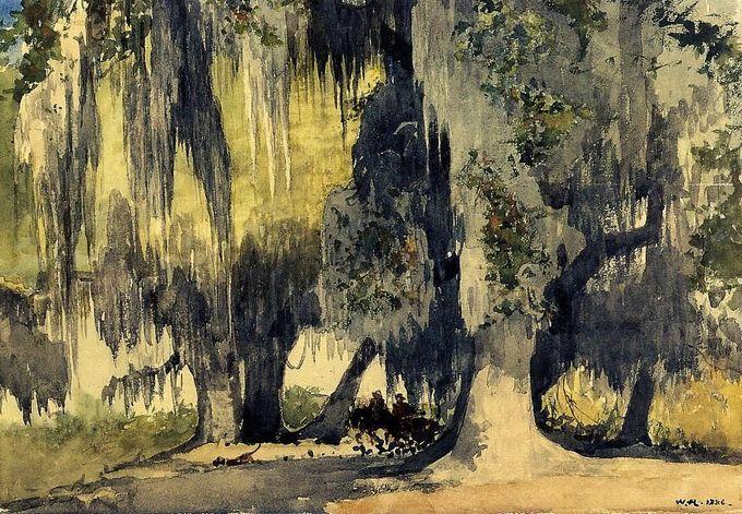 drawpaintprint: Winslow Homer: Live Oaks (1886) Watercolor