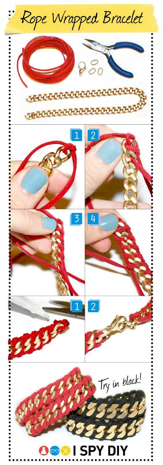 DIY绳包裹链手链