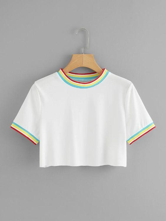 女式条纹饰边T恤 -  romwe