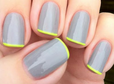 gray manicure + neon tips.