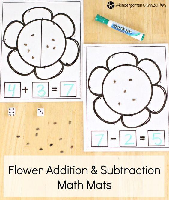 抓住这些免费的春季加法和减法花数学垫印制品!他们非常适合练习基本的动手数学!