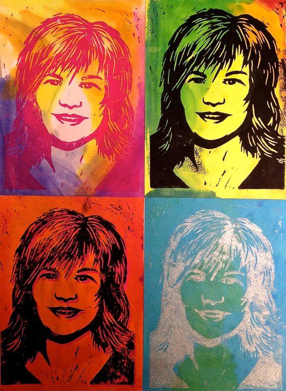 波普艺术自画像沃霍尔版画课程 - 使用水彩和亚麻油地毡块打印方法创建波普艺术风格的自画像