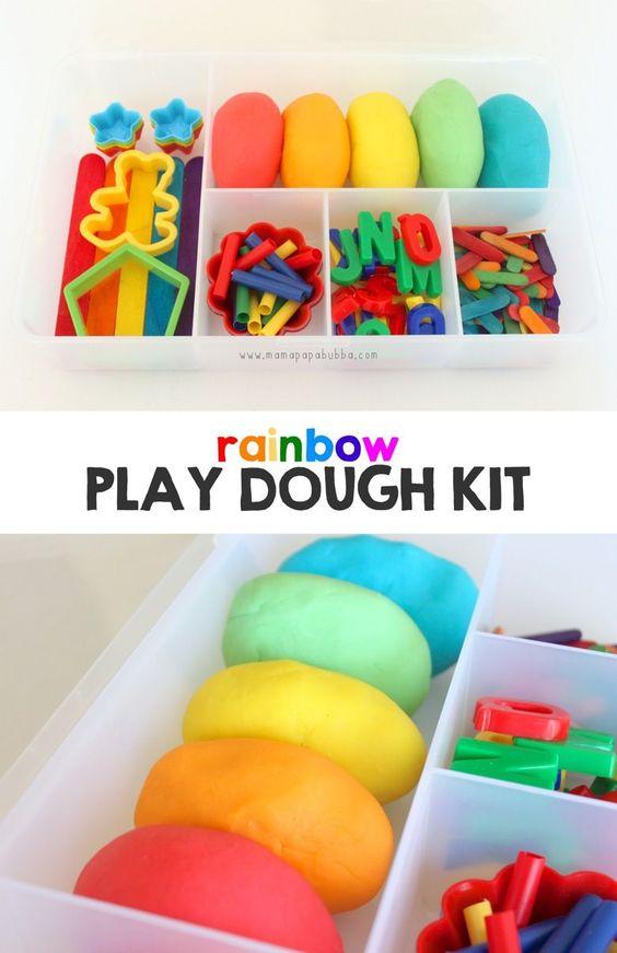 彩虹玩面团套装:一种有趣而简单的礼物,鼓励玩耍和创造力!
