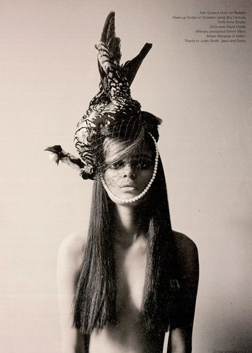 Winsome Wanessa by Gudo for i-D August 2008. Headpiece by Justin Smith Esquire.