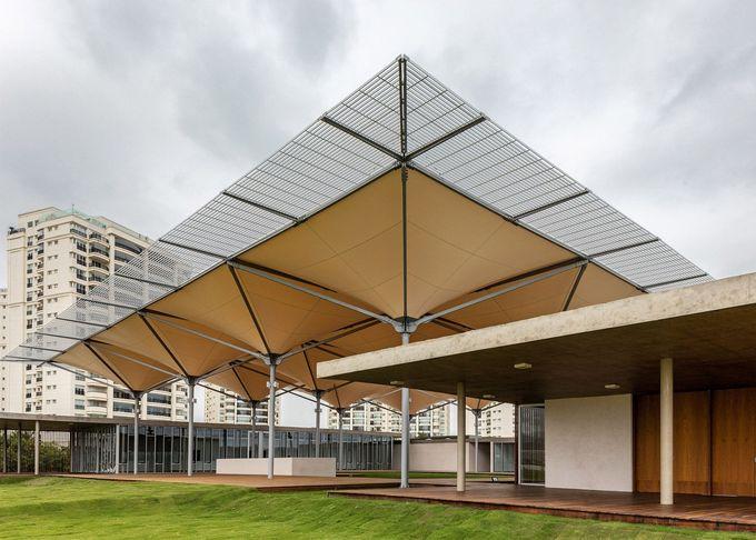 Rio 2016高尔夫球场包括用于收集雨水的树状天篷