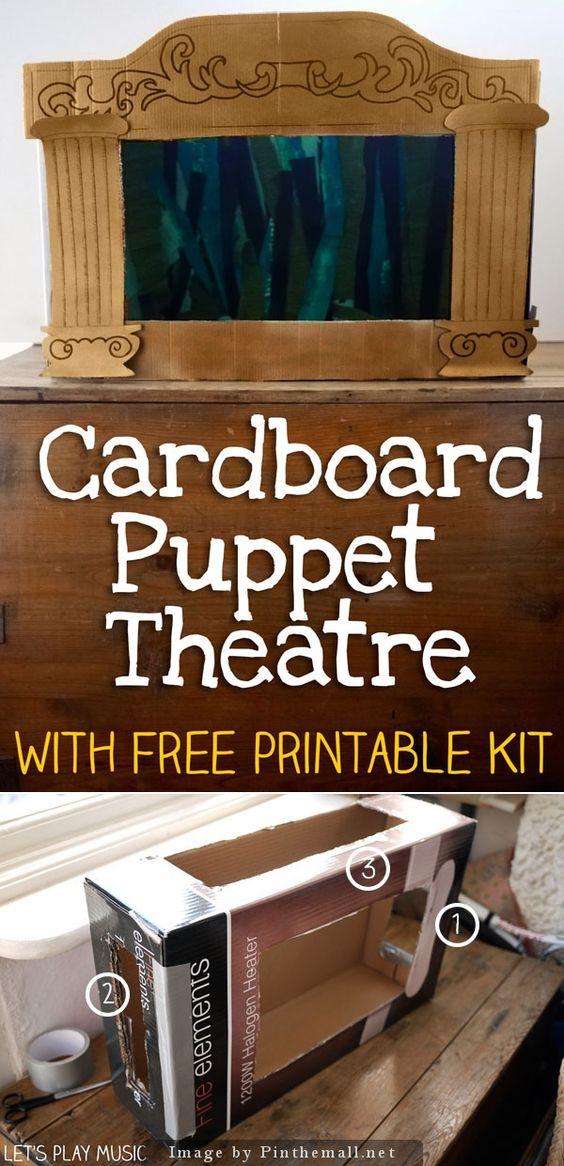 使用纸板箱制作您自己的自制木偶剧场的教程,非常适合木偶戏。包括免费打印前面的剧院。