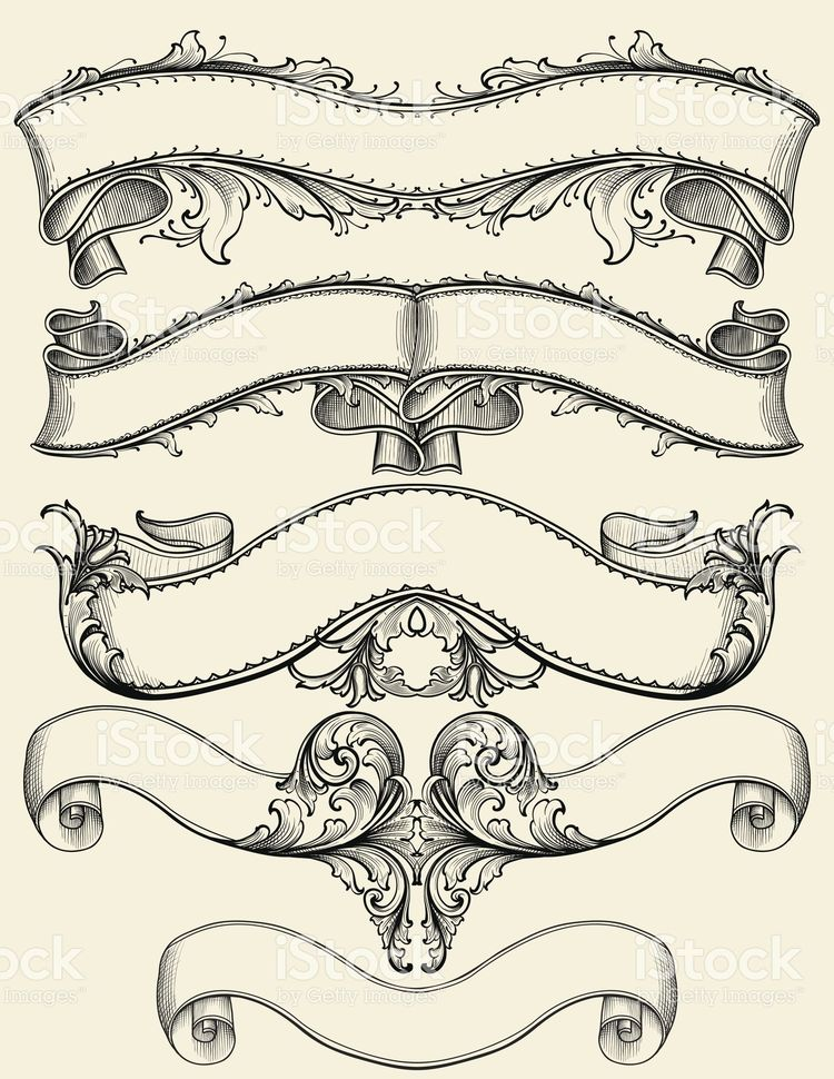 Engraved Symmetrical Banners Royalty Free Stock Vector Art Illustration
