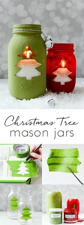 圣诞树金属螺盖玻璃瓶奉献 - 圣诞树被删去的金属螺盖玻璃瓶工艺。梅森罐子为假期工艺。圣诞树蜡烛。包括完整的教程。