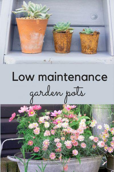 低维护花盆的想法 - 当代花盆对老式花盆,大型低维护花盆,以及小花园盆做什么。