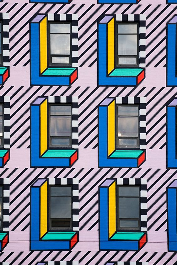 memphis-inspired mural by camille walala brightens brooklyn's industry city