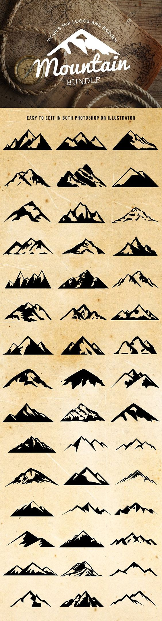 Mountain Shapes For Logos Bundle
