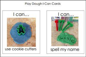 """免费打印播放面团""""我可以""""任务卡,以帮助您的学前班,幼儿园和幼儿园的学生在游戏面团中心继续工作。"""