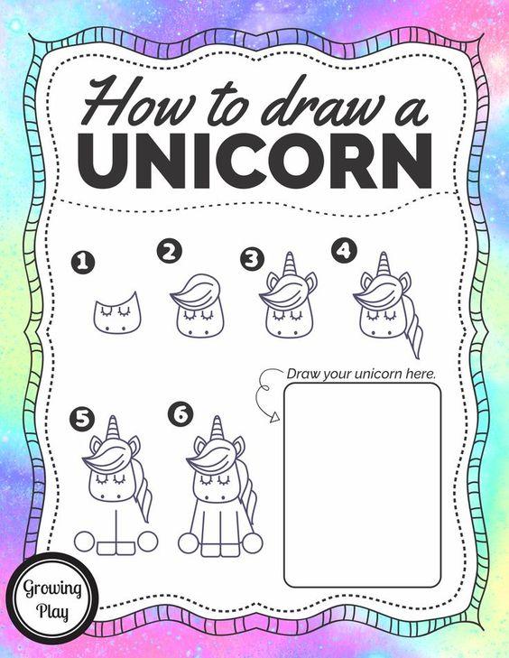 如何绘制一个独角兽 - 这个免费打印提供6步一步一步的方向和练习页打印,学习如何画一个超级可爱的独角兽!