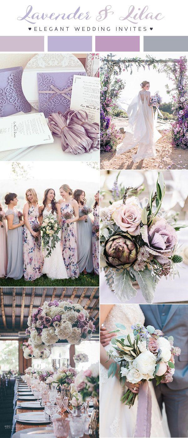 2018年紫色婚礼色彩趋势的淡紫色和淡紫色色调