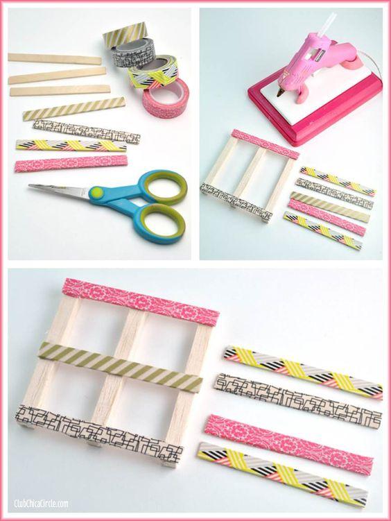 Pauline向您展示了如何使用冰棒棍,小木片和纸胶带制作迷你木托盘DIY杯垫。太可爱又简单!